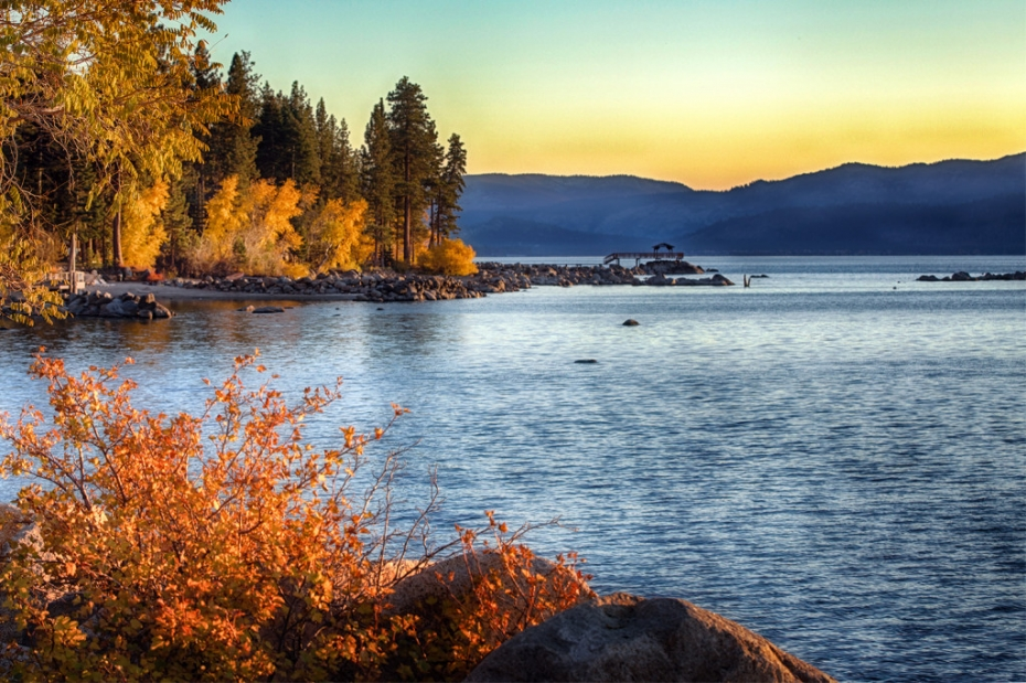 East Shore of Lake Tahoe at Sunset